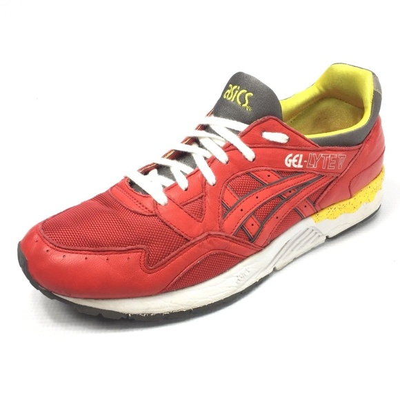huge discount 88337 e6cd2 Asics Other - ASICS GEL-LYTE V Red Yellow Sneakers 10.5
